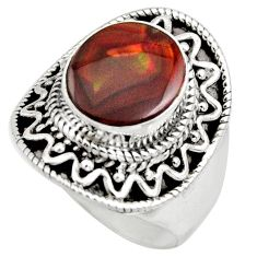 5.30cts natural mexican fire agate 925 silver solitaire ring size 8 r15413