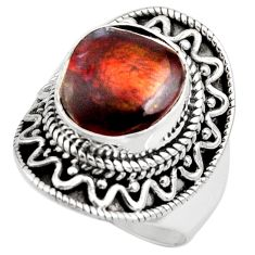 5.42cts natural mexican fire agate 925 silver solitaire ring size 7 r15417