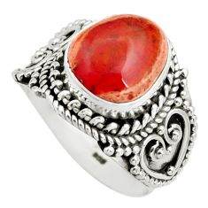 5.13cts natural orange mexican fire opal 925 silver solitaire ring size 8 r15421