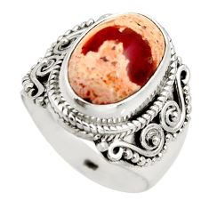 5.83cts natural orange mexican fire opal silver solitaire ring size 7.5 r15422