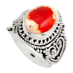 925 silver 5.52cts natural orange mexican fire opal solitaire ring size 7 r15423
