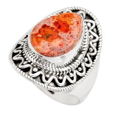 6.80cts natural orange mexican fire opal 925 silver solitaire ring size 9 r15426