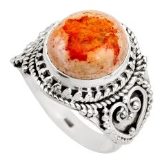 5.71cts natural orange mexican fire opal silver solitaire ring size 8.5 r15427