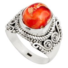 4.74cts natural orange mexican fire opal 925 silver solitaire ring size 7 r15429