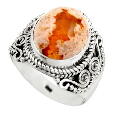 5.51cts natural orange mexican fire opal 925 silver solitaire ring size 8 r15433
