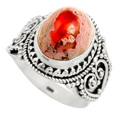 5.75cts natural orange mexican fire opal silver solitaire ring size 8.5 r15435