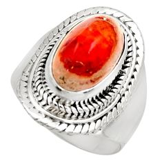 5.31cts natural orange mexican fire opal silver solitaire ring size 7.5 r15436