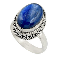 6.57cts natural blue kyanite 925 sterling silver solitaire ring size 7.5 r15441