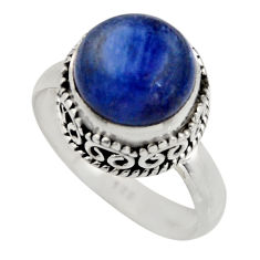5.97cts natural blue kyanite 925 sterling silver solitaire ring size 8 r15443