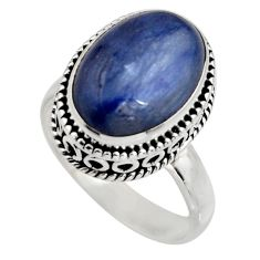 6.80cts natural blue kyanite 925 sterling silver solitaire ring size 8 r15445