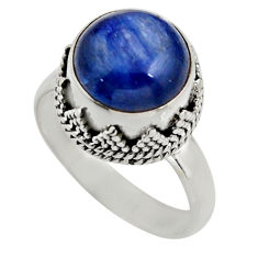 5.75cts natural blue kyanite 925 sterling silver solitaire ring size 7 r15446