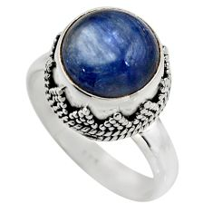 5.75cts natural blue kyanite 925 sterling silver solitaire ring size 7.5 r15450