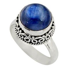5.31cts natural blue kyanite 925 sterling silver solitaire ring size 7 r15454