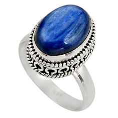 925 sterling silver 6.80cts natural blue kyanite solitaire ring size 9 r15457
