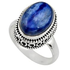 6.89cts natural blue kyanite 925 sterling silver solitaire ring size 8 r15458