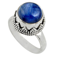 5.53cts natural blue kyanite 925 sterling silver solitaire ring size 7.5 r15459