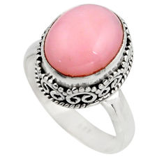 5.31cts natural pink opal 925 sterling silver solitaire ring size 7.5 r15463