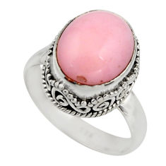 925 sterling silver 5.33cts natural pink opal solitaire ring size 7.5 r15464