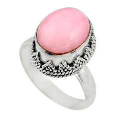 5.31cts natural pink opal 925 sterling silver solitaire ring size 7.5 r15465