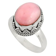 5.53cts natural pink opal 925 sterling silver solitaire ring size 9 r15469