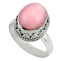 5.52cts natural pink opal 925 sterling silver solitaire ring size 8 r15471