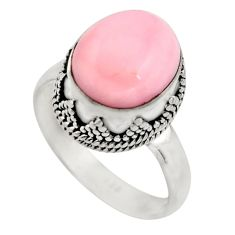 925 sterling silver 5.31cts natural pink opal solitaire ring size 8 r15472