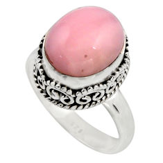 5.53cts natural pink opal 925 sterling silver solitaire ring size 7.5 r15473