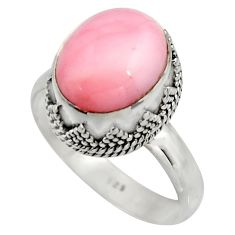 5.07cts natural pink opal 925 sterling silver solitaire ring size 9 r15474