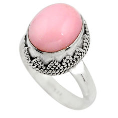 5.53cts natural pink opal 925 sterling silver solitaire ring size 8 r15475