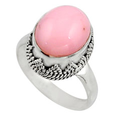 5.53cts natural pink opal 925 sterling silver solitaire ring size 8 r15479