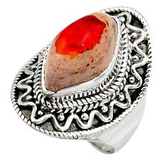 7.07cts natural orange mexican fire opal silver solitaire ring size 6.5 r15504