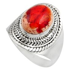 925 silver 5.31cts natural mexican fire opal solitaire ring size 8.5 r15505