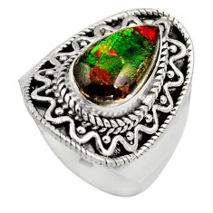 4.73cts natural ammolite (canadian) 925 silver solitaire ring size 8 r15507