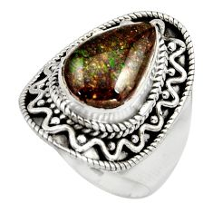 925 silver 4.73cts natural multi color ammolite solitaire ring size 8 r15509