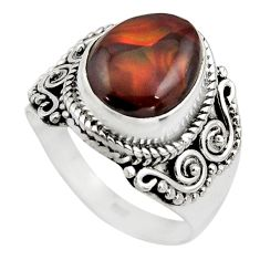 5.83cts natural mexican fire agate 925 silver solitaire ring size 8.5 r15510