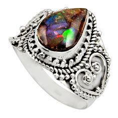 4.40cts natural multi color ammolite 925 silver solitaire ring size 8 r15513
