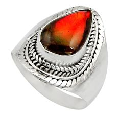4.51cts natural multi color ammolite 925 silver solitaire ring size 7 r15514