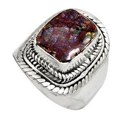5.13cts natural multi color ammolite 925 silver solitaire ring size 7 r15517