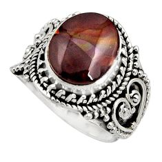 925 s5.31cts natural mexican fire agate ilver solitaire ring size 6.5 r15519