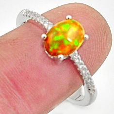 2.50cts natural multi color ethiopian opal topaz 925 silver ring size 8.5 r15521