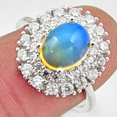 5.52cts natural multi color ethiopian opal topaz 925 silver ring size 7 r15522