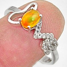 925 silver 1.49cts natural multi color ethiopian opal topaz ring size 8.5 r15523