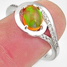 2.92cts natural multi color ethiopian opal topaz 925 silver ring size 7.5 r15525