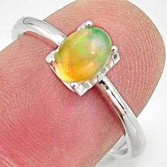 925 silver 1.81cts natural multi color ethiopian opal oval ring size 7.5 r15526