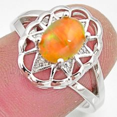 2.33cts natural multi color ethiopian opal topaz 925 silver ring size 7 r15527