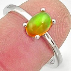 1.58cts natural multi color ethiopian opal 925 silver ring size 7.5 r15528