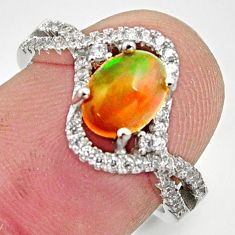 2.78cts natural multi color ethiopian opal topaz 925 silver ring size 6.5 r15529