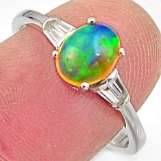 2.71cts natural multi color ethiopian opal topaz 925 silver ring size 7.5 r15531
