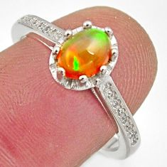2.11cts natural multi color ethiopian opal topaz 925 silver ring size 7.5 r15532