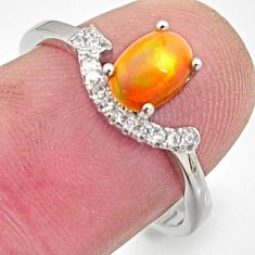 2.03cts natural multi color ethiopian opal topaz 925 silver ring size 7.5 r15534